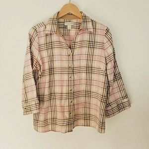 Womens M Christopher & Banks Button Up Plaid Shirt
